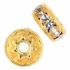 Rhinestone Rondelle (Flat Round) 7mm Gold/Crystal